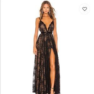 Revolve Michael Costello black lace gown dress
